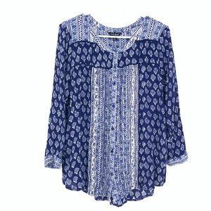 Lucky Brand BOHO Henley Button Front Blue Blouse
